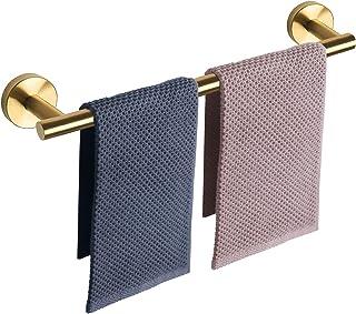 NearMoon バスルームタオルバー バスアクセサリー 厚手 ステンレススチール シャワータオルラック バスルーム用 タオルホルダー 壁取り付け (つや消しゴールド 24インチ)