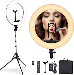 PoplarTrees Ring Light 18'' with Tripod Stand 65W, 3 Light Mode Remote Control 3200-5500K Dimmable CRI 95, Makeup Photogra...