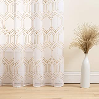 Gold and White Window Sheer Curtains 90 inch - Faux Linen Textured Lattice Pattern Embroidered Design Living Room/Bedroom ...