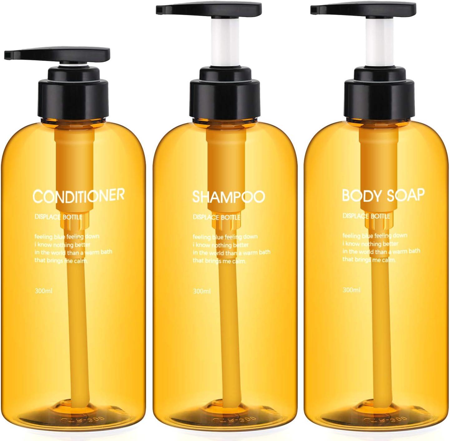 Botellas de dispensador de 3 Piezas para baño, Botellas de Bomba Recargables Segbeauty de 500 ml para jabón líquido Acondicionador de champú Dispensador de loción de Prensa de Gel de Ducha - Marrón