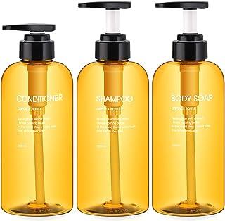 3pcs Dispenser Bottles for Bathroom, Segbeauty 16.9oz/500ml Refillable Pump Bottles for Liquid Body Soap Shampoo Condition...