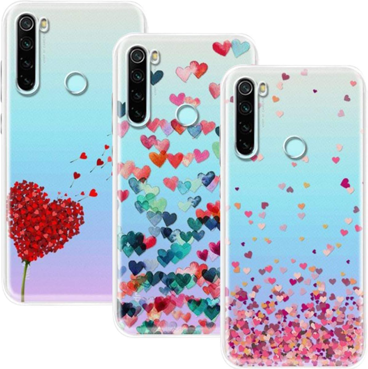 Young & Ming Funda para Xiaomi Redmi Note 8 2021 & 2019, (3 Pack) Transparente TPU Silicona Carcasa Delgado Antigolpes Resistente, Amor