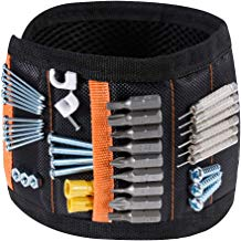 Rovtop Pulsera Magnética Ajustable con 15 Súper Imanes, 2 Bolsillos Pequeños, para Ahorra las Manos, Fija Fácilmente Tornillos, Clavos, Brocas, Pernos, para Hombres y Maquinaria