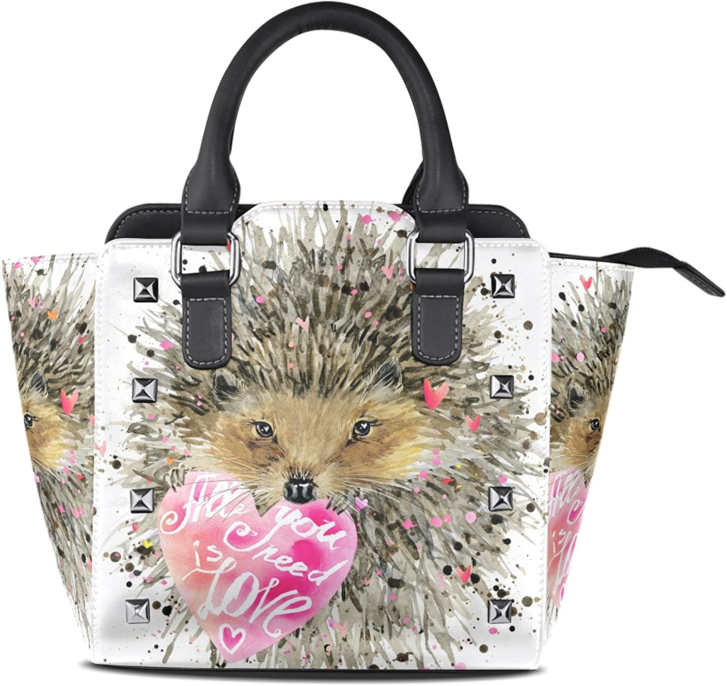 My Little Nest Women's Top Handle Satchel Handbag Watercolor Hedgehog Ladies PU Leather Shoulder Bag Crossbody Bag