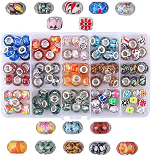 Fishdown 124 PCS Lampwork Murano European Round Faceted Beads Metal Spacer Beads Crystal Large Hole Beads Assortment for Jewelry Bracelet Making with Snake Chain Charm Bracelet