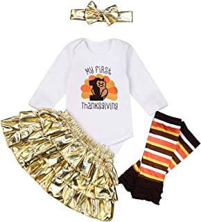 Thanksgiving Outfit Baby Girl My First Thanksgiving Turkey Print Romper Top Tutu Skirt with Headband Clothes