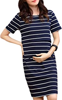 Maternity Dress JoyJay Women Short Sleeve Pregnant Maternity Dress Solid Cartoon Print Beachwear
