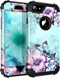 Casetego Compatible iPhone 8 Case,iPhone 7 Case,Floral Three Layer Heavy Duty Hybrid Sturdy Armor Shockproof Full Body Protective Cover Case for Apple iPhone 8/7,Blue Flower