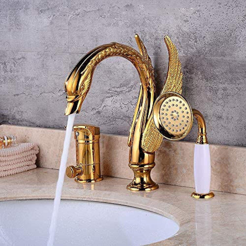 Kalten und warmen Becken Wasserhahn Goldenen Drei-Loch-Wasserhahn Schwan Bad Waschbecken Wasserhahn