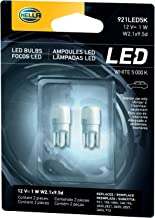 HELLA 921LED 5K 5,000 Kelvin Warm White LED-1W LED Performance Bulb Set, 12V, 1W, 2 Pack