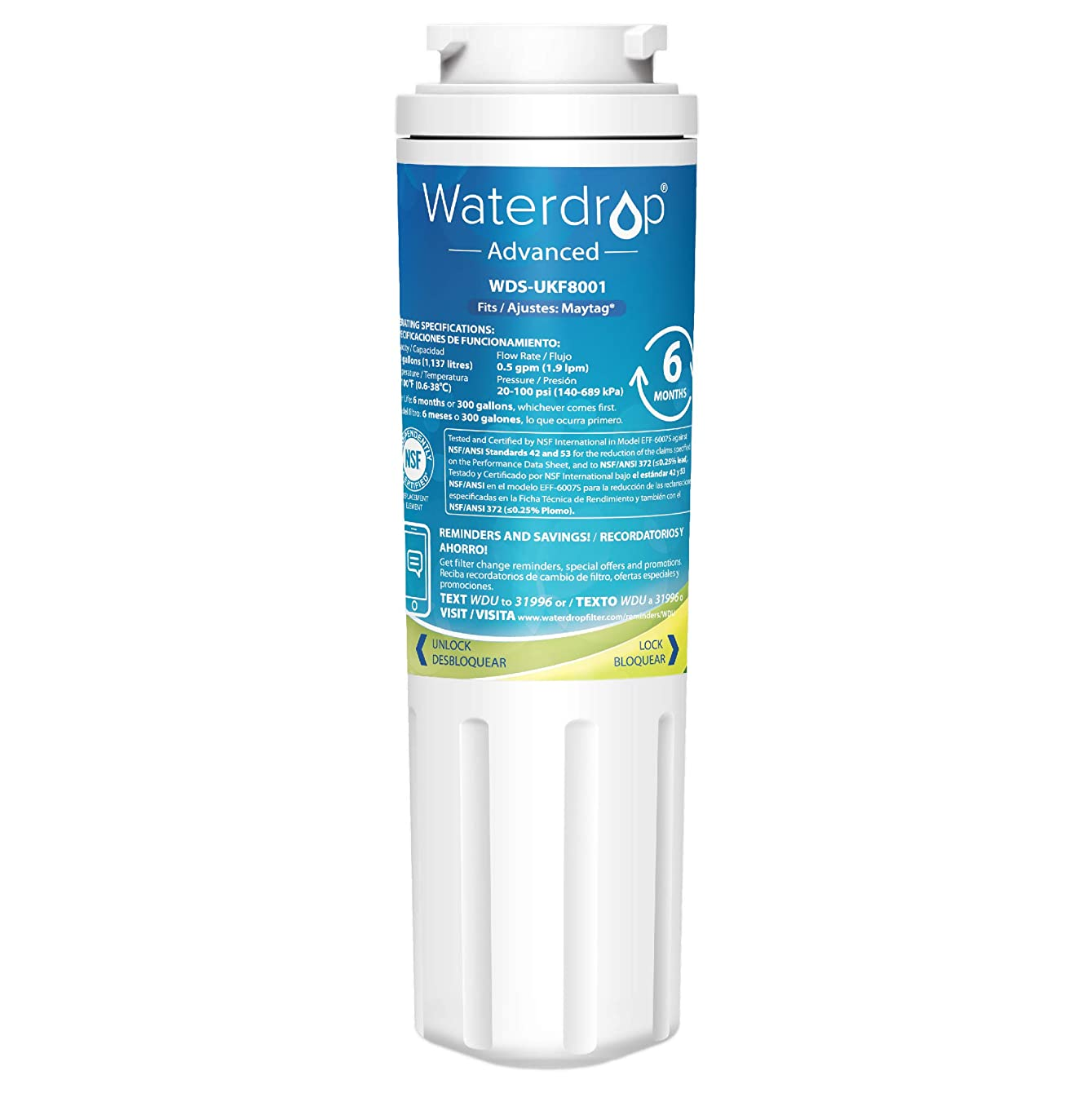 Waterdrop UKF8001 NSF 53&42 Certified Refrigerator Water Filter, Compatible with Maytag UKF8001AXX-750, UKF8001AXX-200, Whirlpool 4396395, 469006, Filter 4, PUR, Puriclean II, EDR4RXD1
