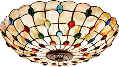 Mediterranean Tiffany Style Ceiling Lights Baroque Flush Mount Ceiling Lamp Natural Shell Crystal Beads Art Ceiling Lighti...