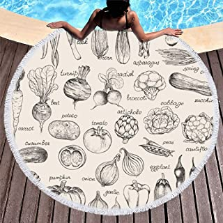 Ahawoso Round Beach Towel Tassels Circle 60 Inches Green Sketch Beet Collection Handdrawn Vegetables Vintage Food Drink Mushroom Tomato Organic Onion Thick Carpet Sport Yoga Soft Blanket Throw Mat
