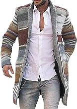 KUYG Heren cardigan sweater, winter warm casual gestreepte lange jassen outwear opstaande kraag windbreaker