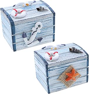 SandT Collection Anchor & Star Fish 3 Inch Nautical Treasure Chest Trinket Box - Set of 2