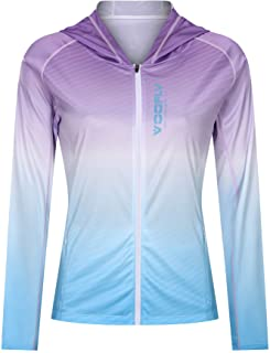 voofly UPF 50+ Sun Protection Long Sleeve Shirts Hoodie Full Zipper for Climbing Running Workout Tees