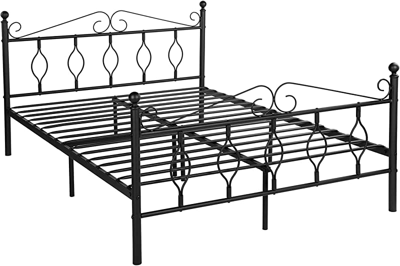 GreenForest Bed Frame Queen Size With Headboard Footboard Metal Platform Bed With Steel Slats Mattress Foundation No Box Spring Needed Black