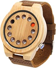 FunkyTop Mens Women Unisex Bamboo Wooden Watches Japan Movement Quartz with Leather Strap 12 Holes Design Watches