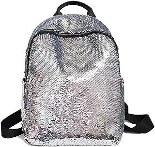 Glitter Bling Sequins Backpack Women Large Leather Backpacks For Girls Travel School Bags Silver