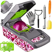 Artcome Vegetable Chopper Slicer Onion Dicer with Colander Basket and Container Food Chopper Onion Cutter with Protective ...