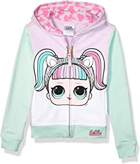 L.O.L. Surprise! Girls The Theater Club Unicorn Big Face Zip-up Hoodie Long Sleeve Hooded Sweatshirt - Purple
