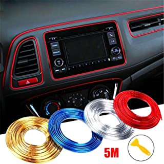 WICHEMI Car Interior Motor Exterior Decoration Moulding Trim Strip Line Sticker DIY Automobile Air Outlet Dashboard Decoration 3D Car Styling Molding Strip 5 Meters Silver