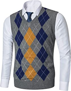 Mens Casual Knitwear V-Neck Sleeveless Slim Fit Argyle Pullover Knitted Sweater Vest