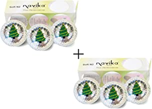 Navika Golf Balls- Christmas Tree Imprint on Silver Metallic Chrome High Visibility Color (6-Pack)