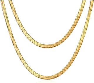 Women Snake Chain Minimalist Layered Necklace Stainless Steel Gold Plated Double Choker