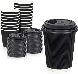 [50 عبوة] أكواب ساخنة للاستعمال مرة واحدة مع أغطية - أكواب قهوة سوداء مزدوجة الأطراف معزولة بجدران مزدوجة مع غطاء قبة سودا...
