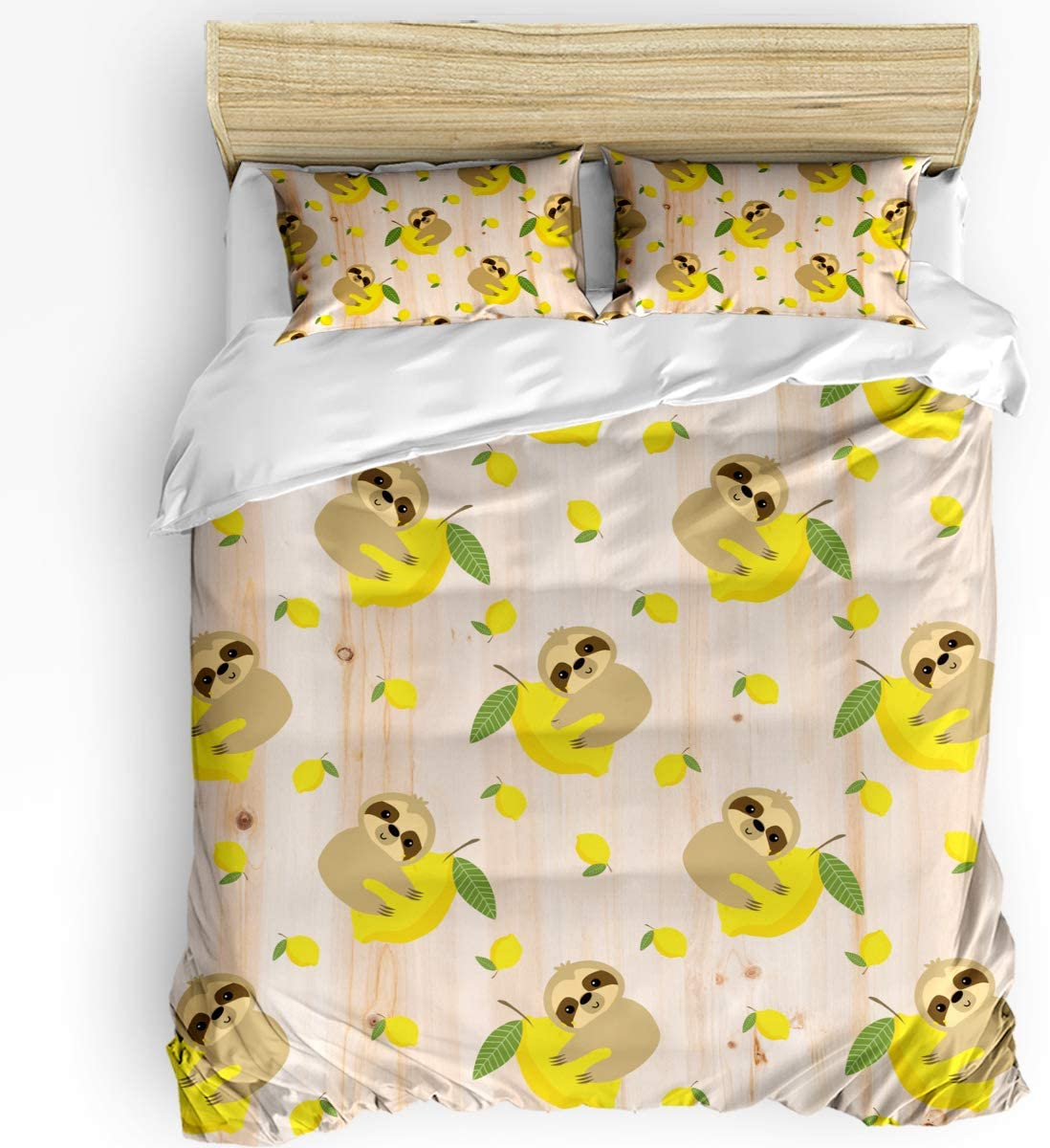 Teather 3-Piece Bedding Sets Sloth with Comforter ! Super beauty product restock quality top! Lemon - Direct store Set Du
