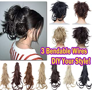 Messy Bendable Clip on Ponytail Hairpiece Extensions with Braids Synthetic Hair with Jaw Claw Attachment Updo Style Layered Fluffy Ponytail with Adjustable Wire 12