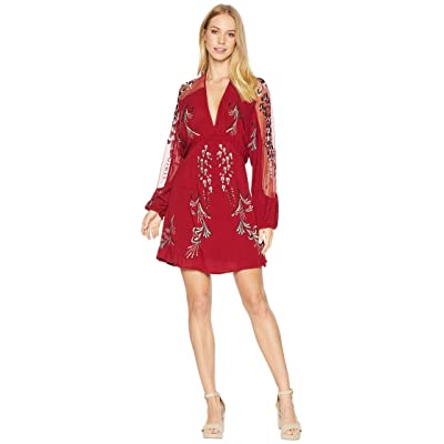 Free People Bonjour Embroidered Mini Dress (Red) Women