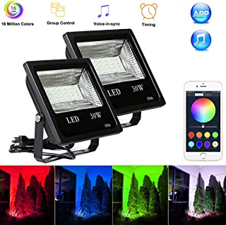 QiLi Smart LED Flood Lights,Group Control 30W RGBW, IP66 Waterproof, Bluetooth Control for iOS and Android, Color Changing with Music, Floodlights for Home, Garden, Balcony (30W, 2 Pack)