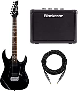 Ibanez GRX20Z 6-String Electric Guitar (Black Night) Bundle with 3-Watt Battery Powered Guitar Amp and Professional Series Guitar Cable (20 feet)