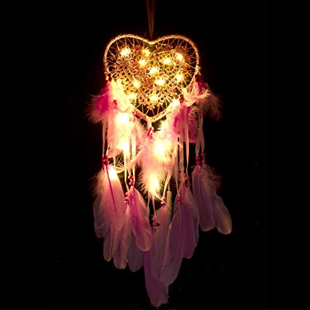 Led Dream Catchers for Bedroom Double Circle Dream Catcher with LED String Lights Feather Fairy Lights Decorations Wall Hanging Ornaments Ceiling Decor Home Decoration for Girls Craft Gift Pink