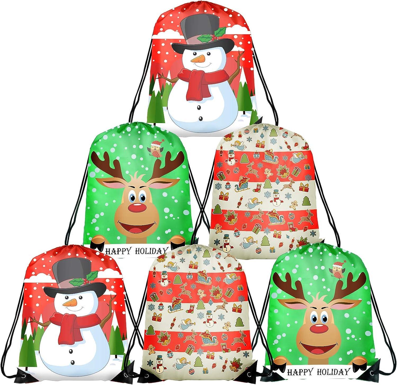 TUPARKA Christmas Drawstring Bags Santa String Backpack Cinch Sack Holiday Gift Bags for Christmas Party Favors (Christmas 6 Pack)