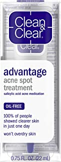 Clean & Clear Advantage Acne Spot Treatment, Oil Free Acne Treatment with Salicylic Acid, Gel Pimple Cream for Adults and ...