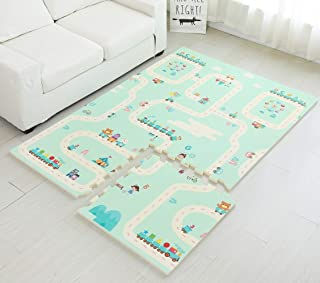 Infant Shining Baby Puzzle Mat Thick 2cm XPE Foam Floor Play Game Mat for Kids Children 6PCS and 10 Borders Mountain