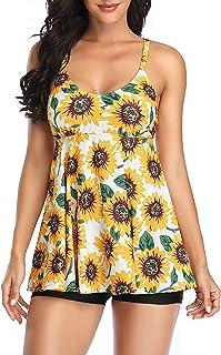 Women's Mesh Tankini Swimwear Sets Bikini High Waist 2 Pieces Swimsuit Swimming Costume Plus Size, Z-Sunflower - 3XL