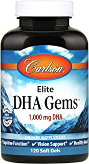 Carlson - Elite DHA Gems, 1000 mg DHA, Wild Caught, Sustainably Sourced, Brain Function & Healthy Vision, 120 Softgels