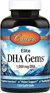 Carlson - Elite DHA Gems, 1000 mg DHA, Supports Healthy Brain Function & Vision, 120 Soft gels