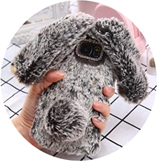 Fluffy Rabbit Fur Silicone Phone Cases for iPhone X 8 7 6S Plus Samsung Galaxy S9 S8 Plus S7 S6 Edge Case Bling Back Cover Shell,Brown,for J7 J700 2015