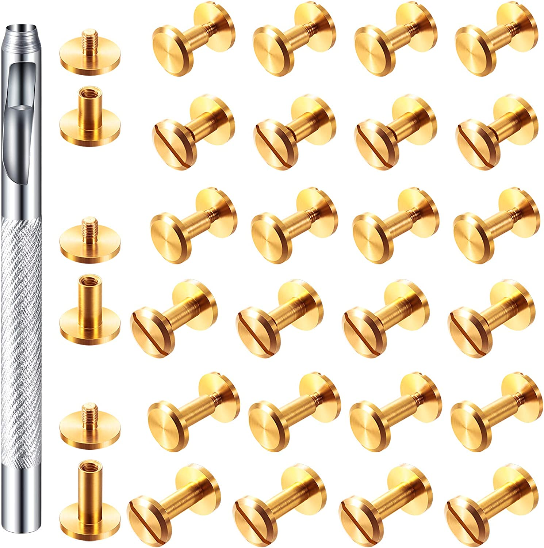 60 Pairs 3 Sizes Brass Chicago Rivets Screws Screw 5% OFF Luxury goods Belt Ba