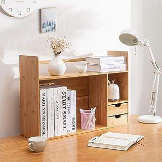 Estanterías para CD DVD Organizador de estantería de escritorio - Estante de almacenamiento de madera maciza con cajones, ...