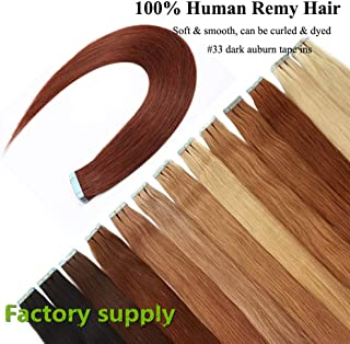 Dark Auburn Tape in Hair Extensions, Re4U 20inch Straight Copper Red 100% Blue Tape in Human Remy Hair Extensions (20