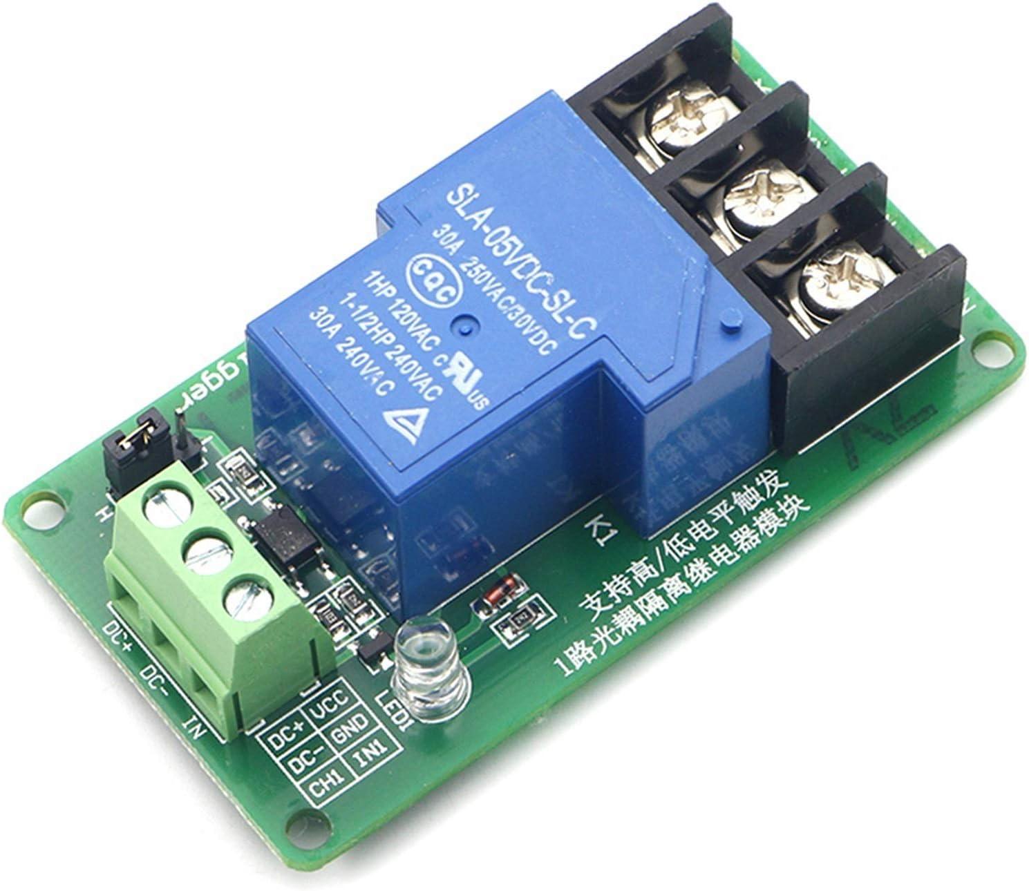 JSJJAES Un módulo de relé de 1 Canal 30A con el Aislamiento de optoacoplador 5V 12V 24V admite un gatillo de triger de Alto y bajo (Size : 24V)