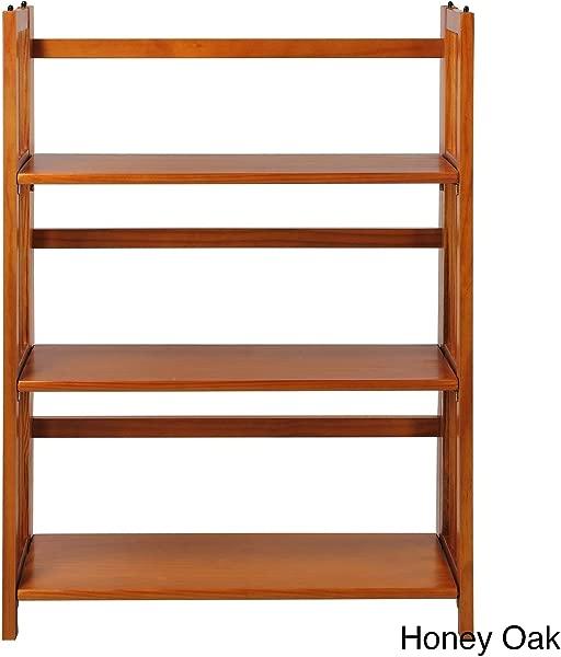 MISC Honey Oak Wide Folding Bookcase Collapsible Book Case 3 Shelf Fold Up Wooden Stylish
