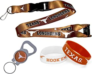 aminco NCAA Texas Longhorns Team Lanyard, Bottle Opener Keyring and Rubber Wristbands Gift Bundle