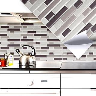 5er Set 25,3 x 4,3 cm Grandora Mosa/ïque 3D autocollant pour carrelage W5420 auto-adh/ésif cuisine salle de bain Stickers muraux Tuiles d/écoratives Film Noir Gris Argent brique